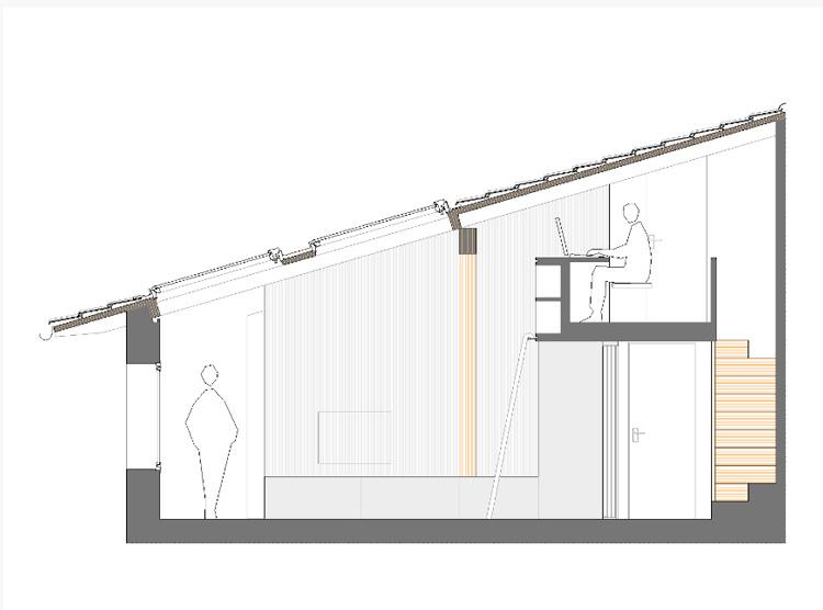 Arredare piccoli spazi vivere e lavorare in 40 mq sezione alzato