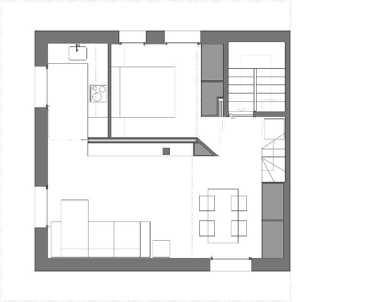 Arredare piccoli spazi vivere e lavorare in 40 mq pianta progetto