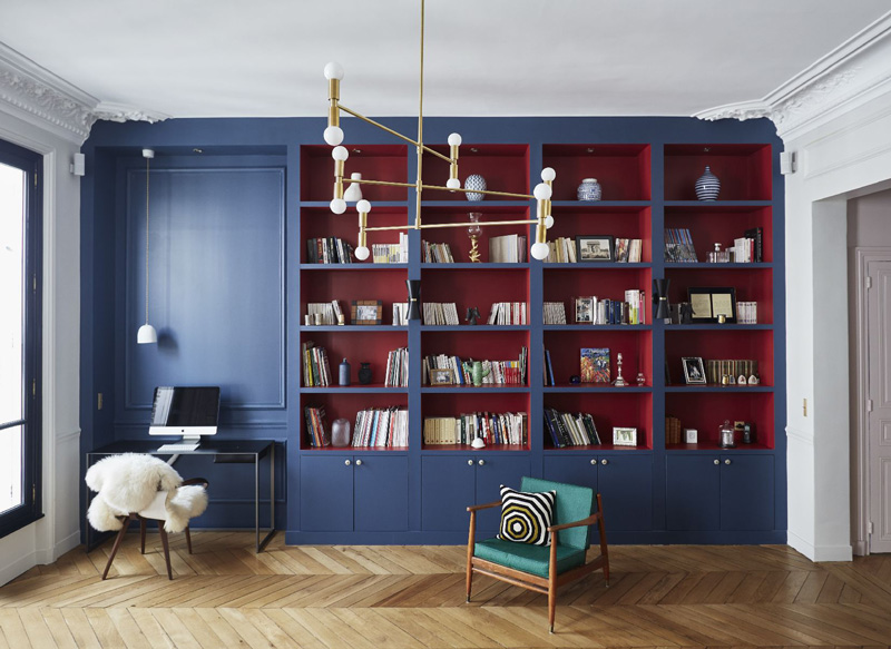 Un appartamento haussmaniano libreria su misura cartongesso