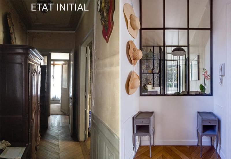 Un appartamento parigino ritrova la luce prima e dopo