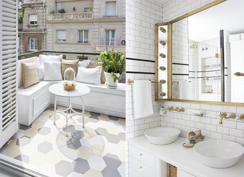 casa a Barcellona tra stile scandi e retro terrazzino e bagno piastrelle metro