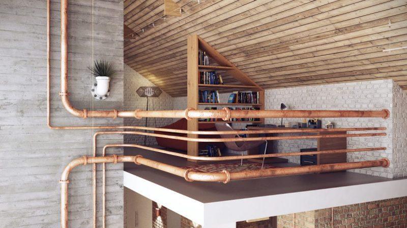 Impianto elettrico a vista in stile industrial tubi idraulici a vista