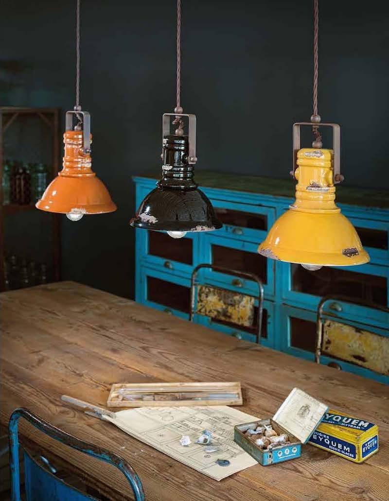 Impianto elettrico a vista in stile industrial lampade saliscendi