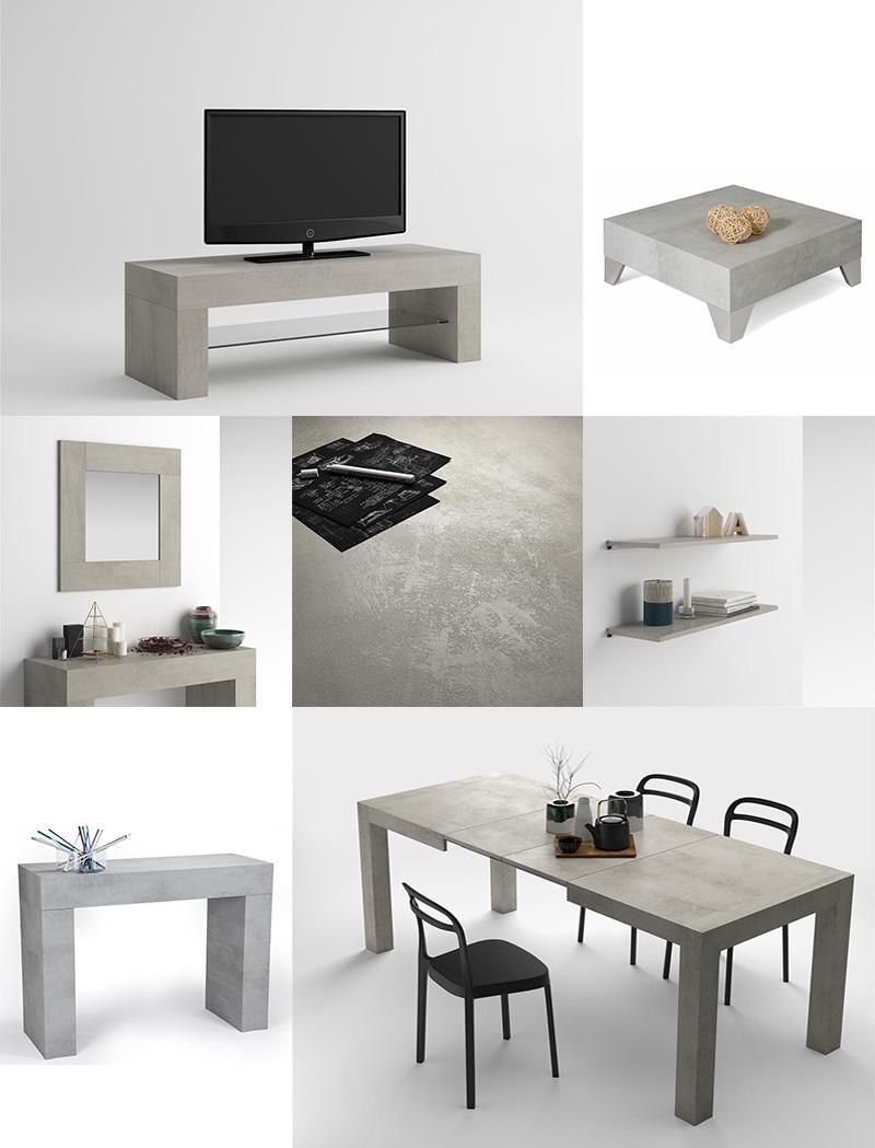Arredare la zona living con mobili coordinati finitura cemento