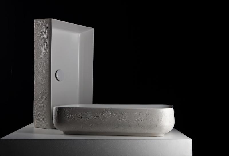bagno Cersaie 2018 ESEDRA Lavabo Collezione Quadra Texture Macrame Luca Papini