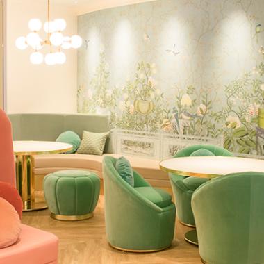 sala da tè color confetto in Giappone