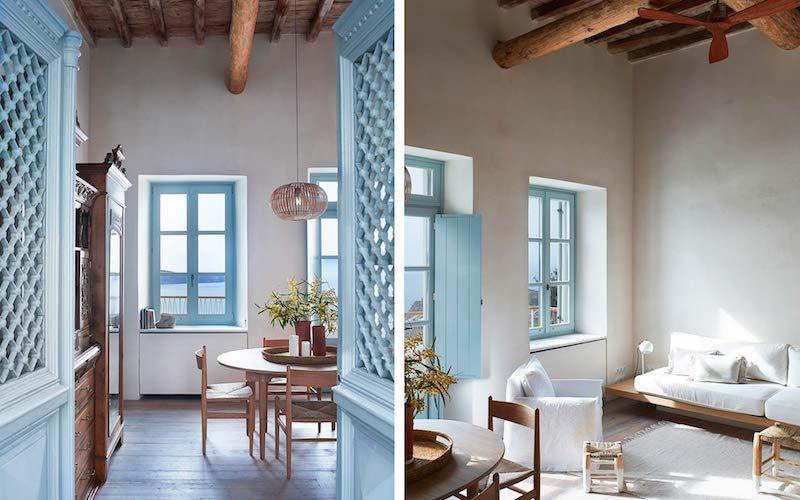 una casa in Grecia bianca e azzurra ingresso