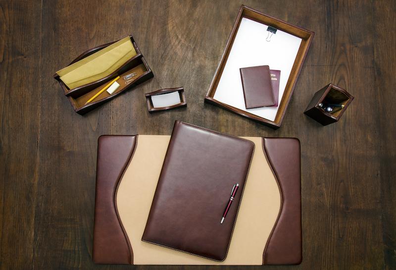 Set da scrivania in pelle classico maruse pelletteria