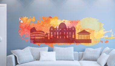 Stickers murali skyline Roma acquarello