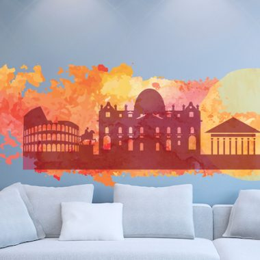 Stickers murali skyline Roma acquarello