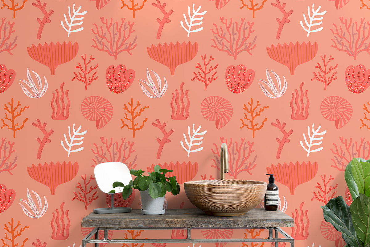 Living Coral colore 2019 Pantone Muralwallpaper